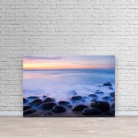 Hawaii, Kauai, Na Pali Coast, Evening Light Over Kalalau Beach, Long Exposure On Ocean And Rocks.