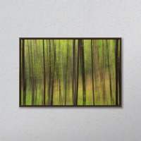 Abstract Of A Forest With Green Tree Trunks; Ontario, Canada