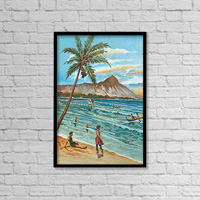 C.1905 Hawaii, Oahu, Waikiki, Outrigger Canoes Surfing With People Watching, Diamond Head Background