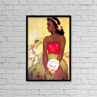 C.1940 Hula Dancer Holds Ipu In Hand, Bird Of Paradise Background, John Kelly