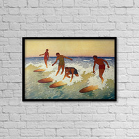 C.1927 Hawaii, Painting, Charles Bartlett, 4 Surfers Catching A Wave