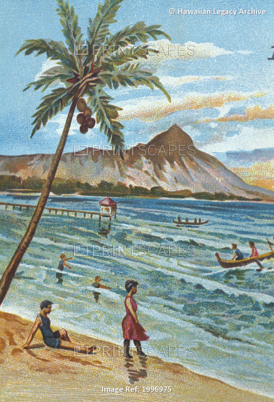C.1905 Hawaii, Oahu, Waikiki, Outrigger Canoes Surfing With People Watching, ...